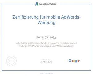 Google Adwords Zertifikat Mobile Advertising