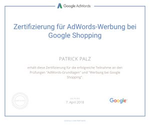 Google Adwords Zertifikat Shopping