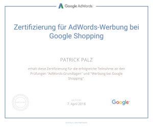 Google Adwords Zertifikat Shopping